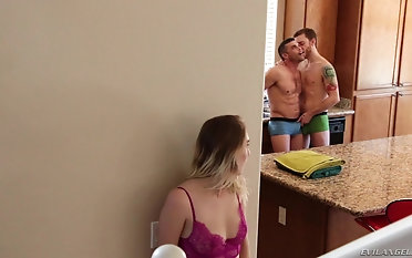 Cadence Lux and a horny guy for all get to portion a stiff fat pecker