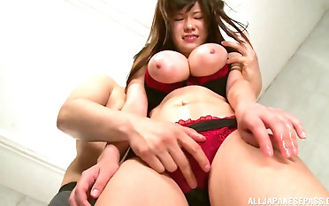 Busty Kimino Natsu fucks with him while will not hear of tits bounce up and down