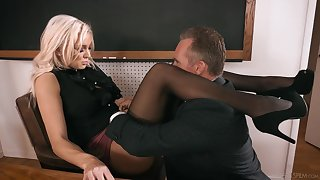 Strict looking busty blonde principal Kenzie Taylor lures ladies' to fuck mad