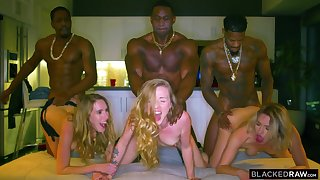Interracial group sex orgy with babes Khloe Kapri, Accentuation Lux, Karla Kush - cumshots