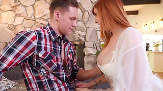 Femme fatale woman Lauren Phillips bangs team a few young handsome guy