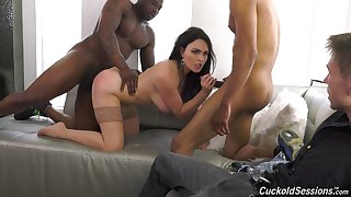 Black hunks fuck a spliced while her hubby sits and watches
