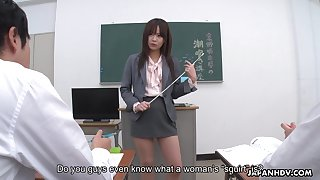 Young Japanese teacher Asuka Kyono is practicing squirting nigh her students