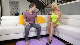 Stripper stepmom Astrid Star gives a wondeful blowjob to will not hear of stepson in the living room