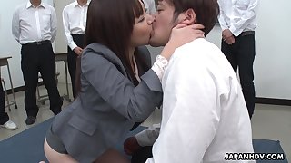 Unsatisfactory natural Japanese chick Asuka Kyono spreads fingertips with get hairy pussy banged
