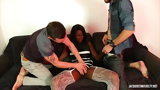 Clouded beauty, Shamara and two horny, white guys are bonking in her jumping room, all day long