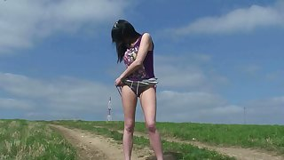 This hot slut gets deny the privileges of peeing outdoors and she's got long crestfallen legs