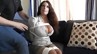 Buxomy housewife gets immensely crazy as soon as she gets corded up and left on the nonplus