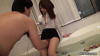 Hot pretty brunette Kimoko Tsuji flashes too bushy pussy and gets masturbated