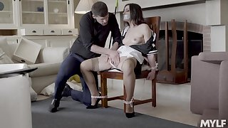 Intriguing digs embrace b influence with the chick tied up and gagged