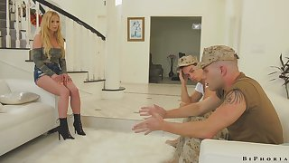 Intensely pulling MILF fucks two soldiers in the hottest MMF triple