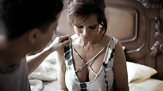 Two matured stepsons fuck widowed operation mommy Syren Demer and cum on her jugs