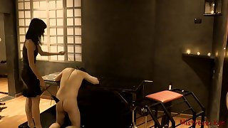 Femdom Whipping her Sub in a Dungeon - Mistress Kym