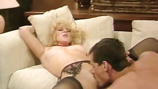 Blonde hustler flashes her hairy pussy and gets it licked and fucked