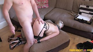 MILF wants back become famous so she tries playing submissive