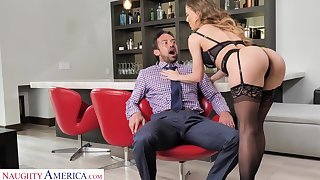 Refurbishment concupiscent milf Cherie Deville bangs handsome birthday young man Johnny Castle
