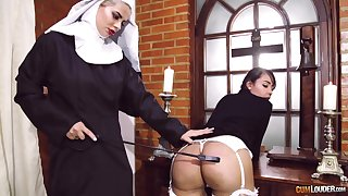 Passionate lesbian sex between two kinky pornstars dressed as nuns