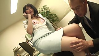 Secretary drops essentially her knees about suck a dick and gets fucked from behind