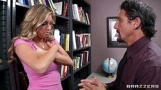 Fucking in the office ends with cum in excess of tits for sexy Samantha Saint