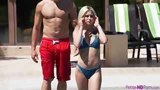 Seductive blonde bikini girl Kiara Cole fucks doggy in the pool everywhere her plank