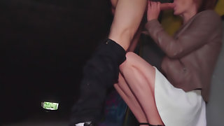 Redhead fucked in a tunnel