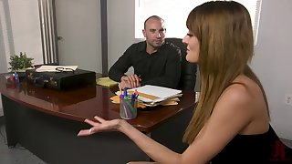 Zoe Sparx tied up to a table plus fucked by a handsome dude