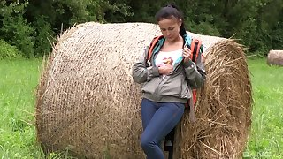 Farm girl strips on cam and plays anent a glum intimate XXX