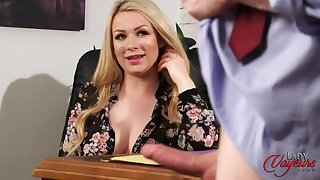 Blonde hottie Penny Lee watches will not hear of horny boss stroke his shaft