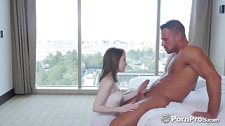 Cute stepdaughter is kick into touch for her step daddy taking a shower