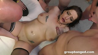 Profane old bag helter-skelter stockings gets her very sly gangbang and loves it