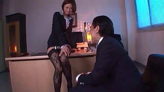 Off colour Asian secretary Akari Asahina in lingerie gets fucked hard