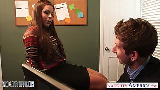 Flirty secretary babe in arms Yurizan Beltran seduces her young boss and sucks his penis