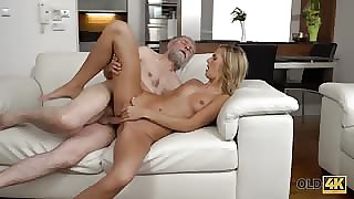 Perfect blonde unreserved here her pussy fucked by old man